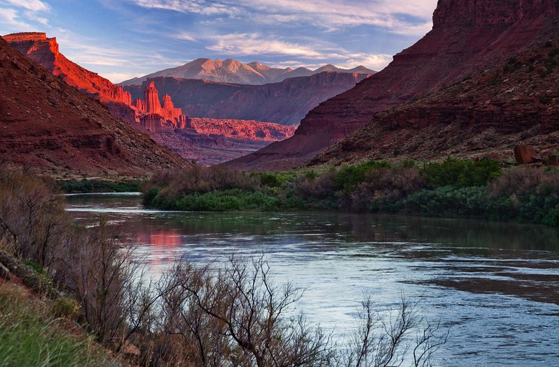 Colorado River, Fisher Towers and La Sal Mountains.