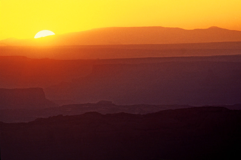 Sunset Layers.  View from Geyser Pass Road, La Sal Mountains south of Moab.