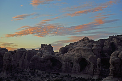 Double arch at sunset