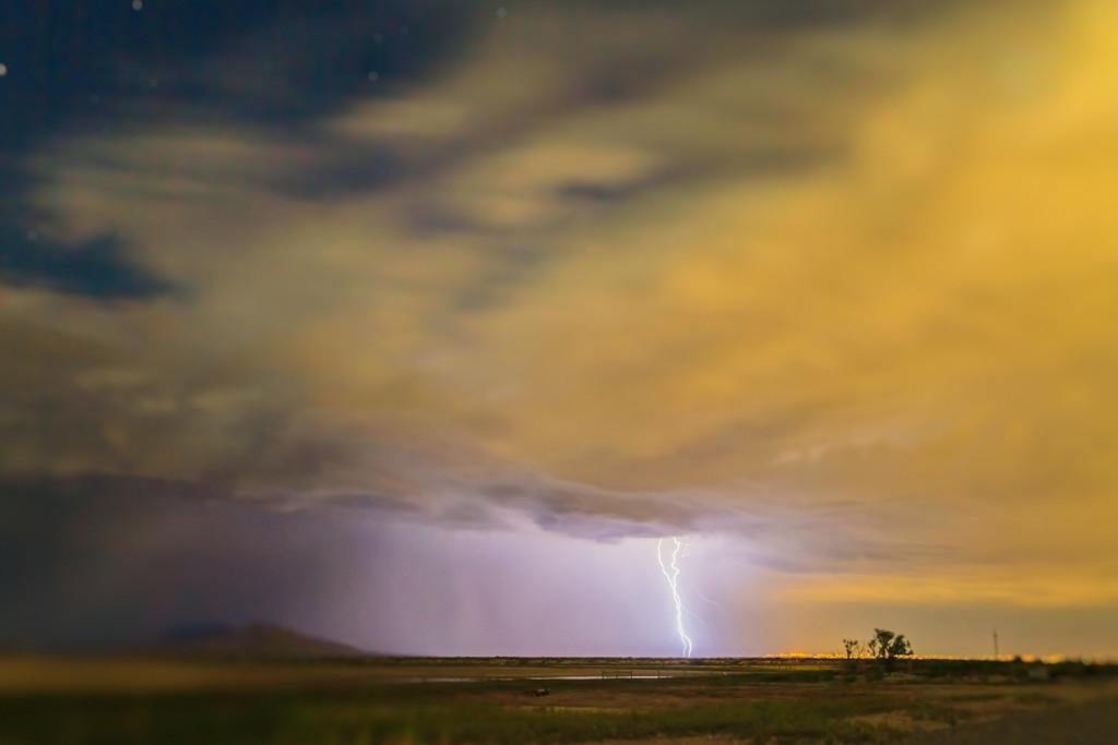 Lightning storm over the Great Salt Lake