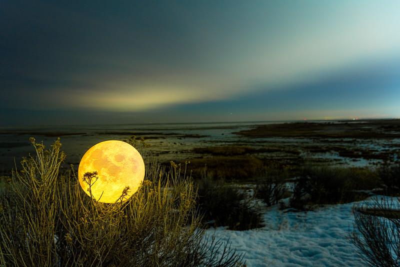 Moonrise over the Great Salt Lake