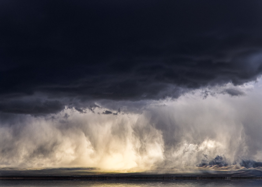 Great Salt Lake effect storm rolling across the Valley