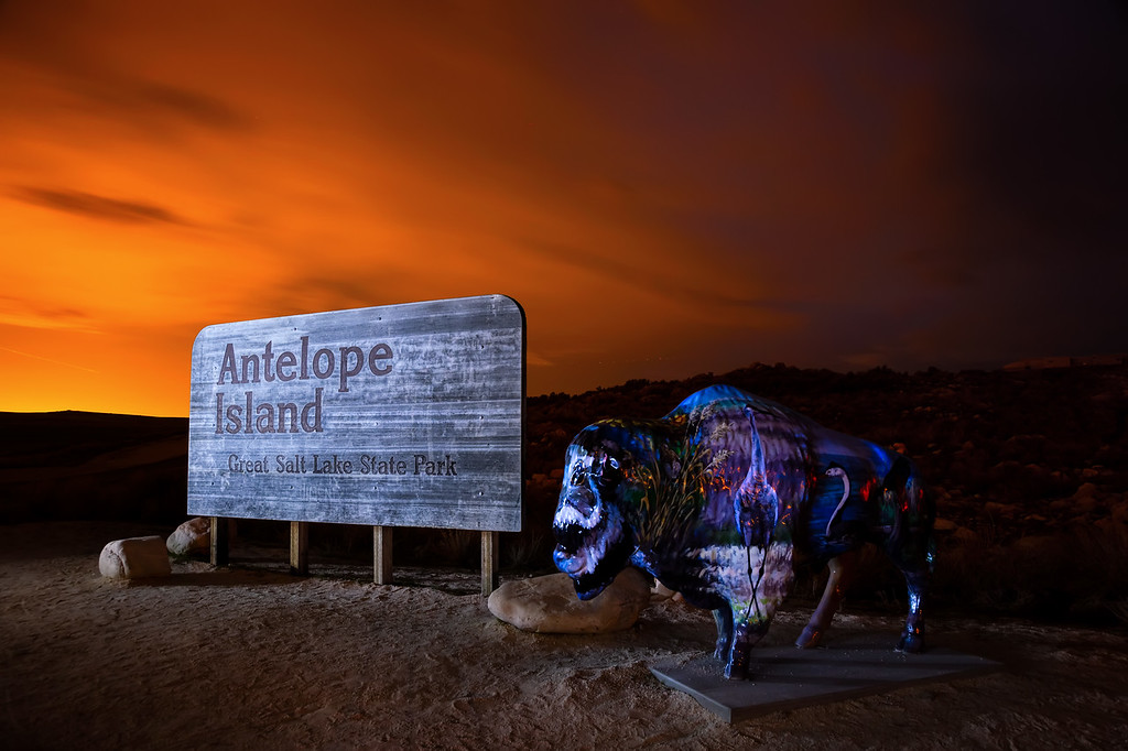 Antelope Island at night