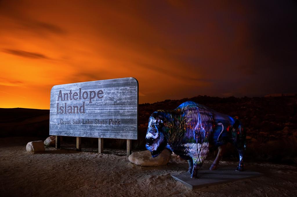 Antelope Island at night