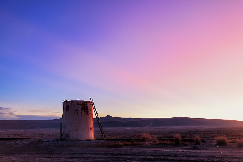 Joe the Watertank at sunrise