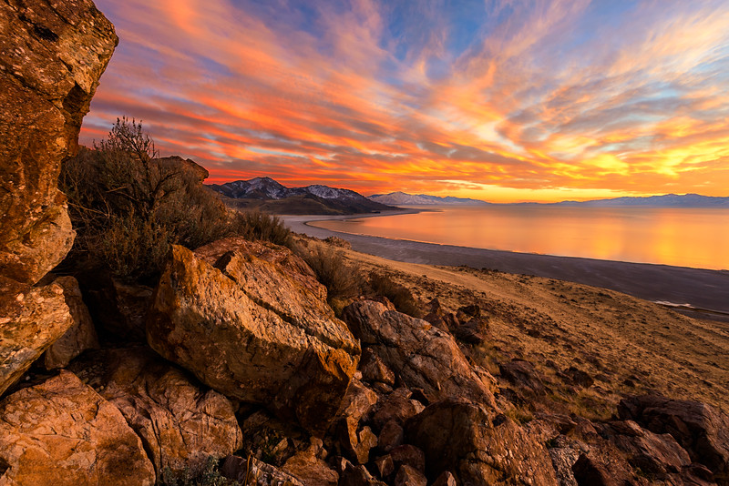Fall Sunset Great Salt Lake, Buffalo Point!