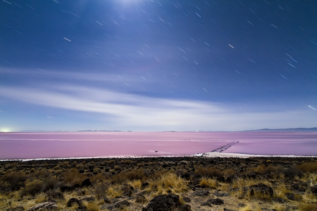 Spiral Jetty under a bright moon