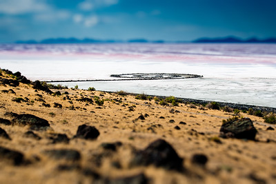 spiral jetty - when the jetty was high and dry.