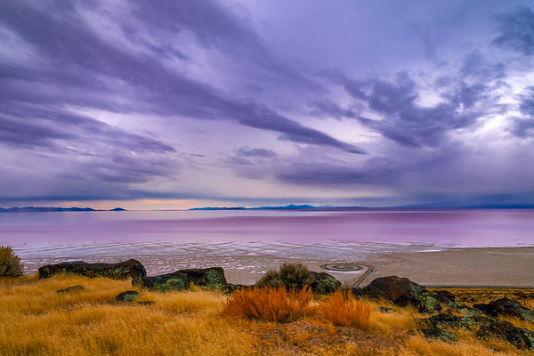 Spiral Jetty on the shore of the Great Salt Lake, Utah