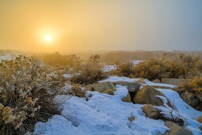 Foggy sunset Great Salt Lake, Utah