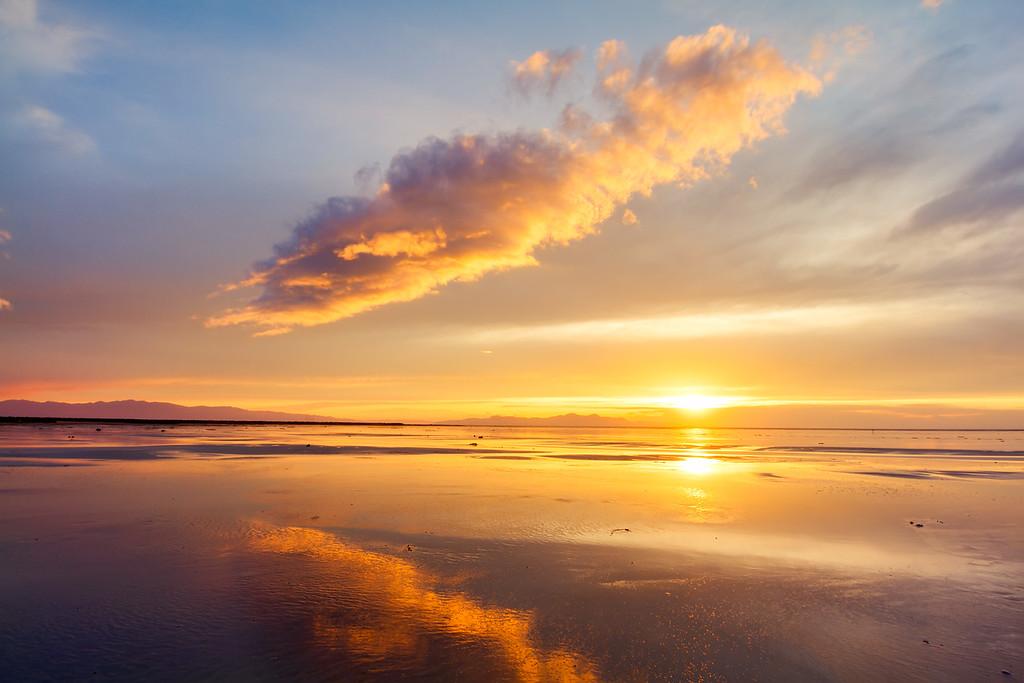 wet sand sunset