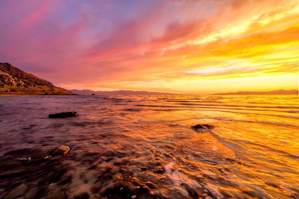 Sunset at Sunset Beach, Great Salt Lake