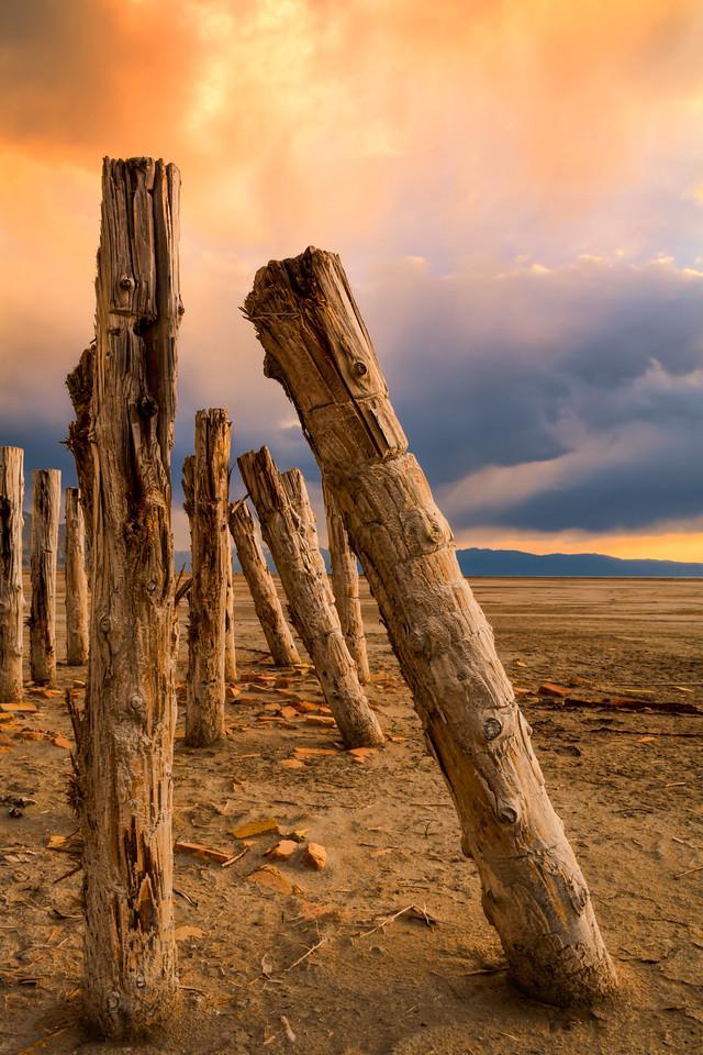 Battered pier, Great Salt Lake, Utah