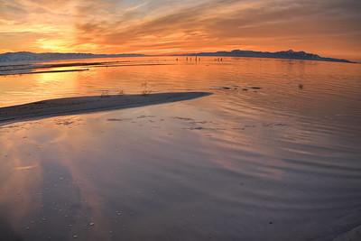Winter sunset Great Salt Lake