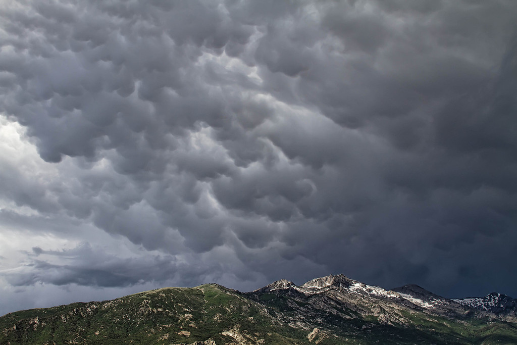 Storm clouds over Lone Peak