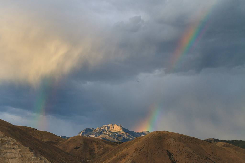 Lone Peak and a double rainbow