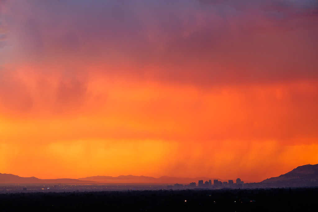 Salt Lake City sunset rain