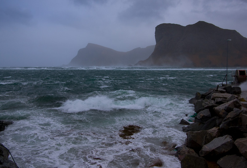 Whipped sea - full storm at Værøy