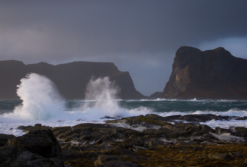"The storm ""Ulrik"" sweeping the shores of Værøy II"