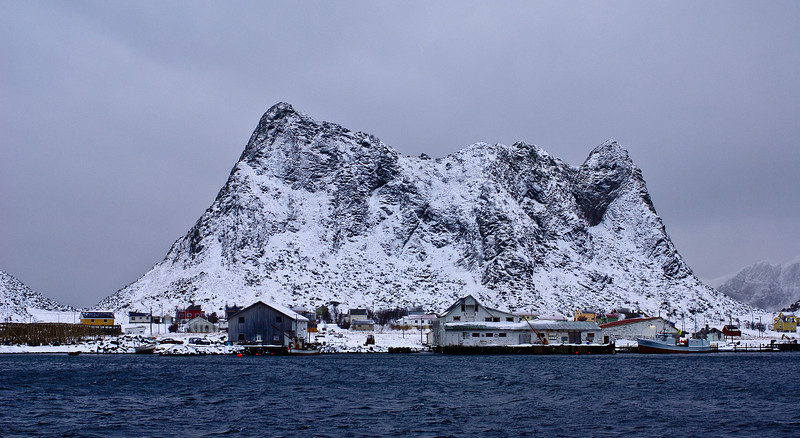 The old seaside houses and the old mountain