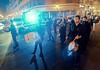 Brass band, small midnight religious procession, Valencia