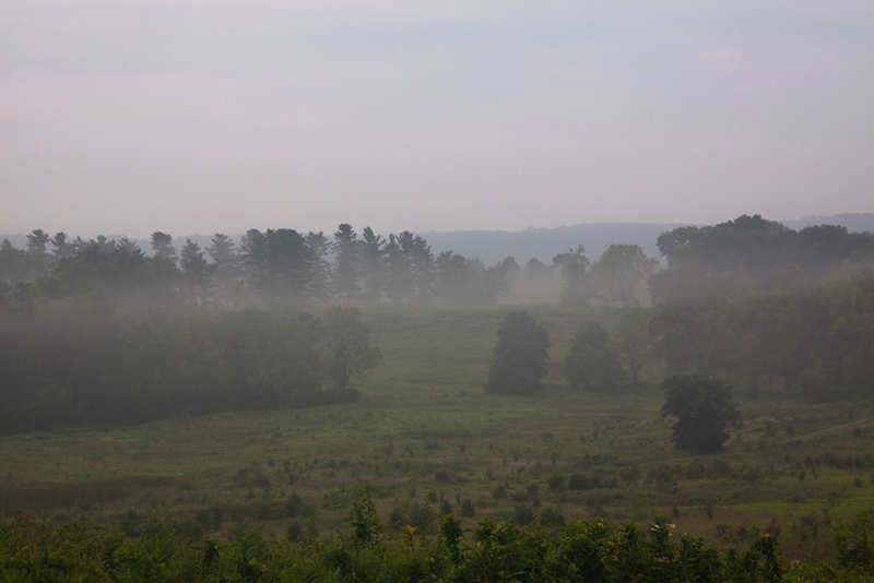 Valley Forge early morning low lying mist with sun trying to break through.