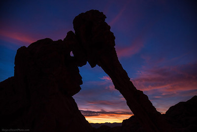Elephant arch sunset silhouette at Valley of Fire State Park in Nevada