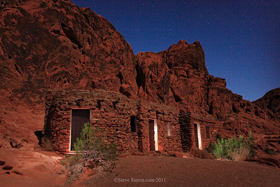 Valley of Fire cabins light painted at night under the stars
