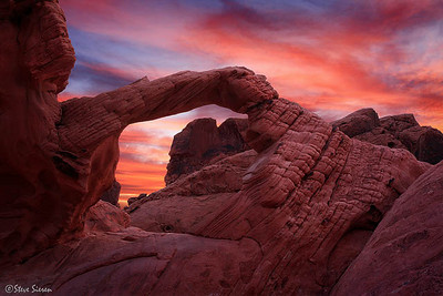 The Red Planet - Valley of Fire State Park Nevada  The bizarre formation of Arch Rock resembles something one might on another planet such as Mars.