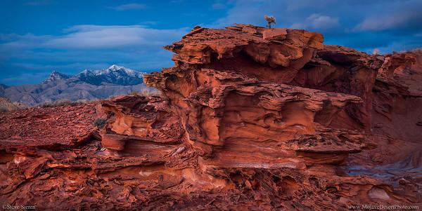Virgin Peak and Cactus Top sandstorm formation in Red Rock Country Mojave Desert, Nevada.
