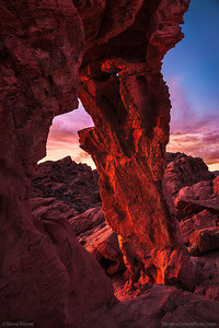 Elephant Rock arch glowing at sunset at Valley of Fire State Park in Nevada.