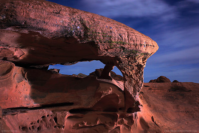 Piano Rock Light Painting at Valley of Fire State Park  Some photographers ask themselves a series of questions when they get ideas for a subject to photograph. Much of the time it's where? GPS? What time? Moon or no moon?  Have you ever thought, How? Might be a better question.... . How do you try to take a different picture? How do you make a picture more three dimensional, or add texture? If you were inspired by a moonlit photo, how do you take one with out moonlight?  We had a great time shooting this arch but we were only there for about 15 minutes.