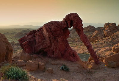 Elephant Rock, Valley of Fire, Nevada, at sunrise looking southeast.