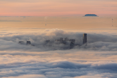Vancouver peekig through the fog