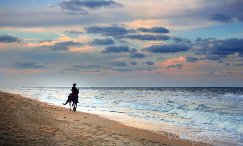 The ocean stirs the heart, Inspires the imagination, and brings eternal joy to the soul. <br /> ~Wyland<br /> <br /> I was shooting the sunset, when out of nowhere, this lady on a horse appeared , just walking down on the shoreline..   So cool. :)