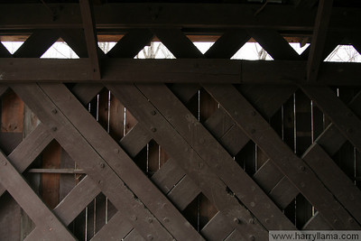 A view of the timbers holding up the Fairfax covered bridge.