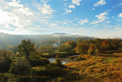 Sunrise overlooking the famous Stowe Vermont church.