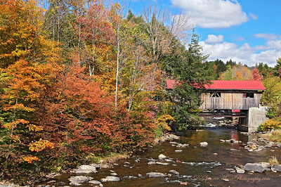 """This is """"Powerhouse Bridge"""" in Vermont. On the other side of the bridge is the old abandoned powerhouse, still standing there in the river."""