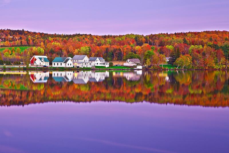 Vermont, Lake Elmore, Foliage, Fall Colors, Landscape, Moonlight, 佛蒙特, 秋色 风景, 月光