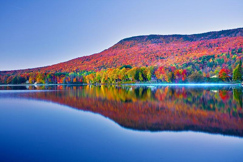 Vermont, Stowe, Lake Elmore, Foliage, Fall Colors, Landscape, Dawn, 佛蒙特, 秋色 风景