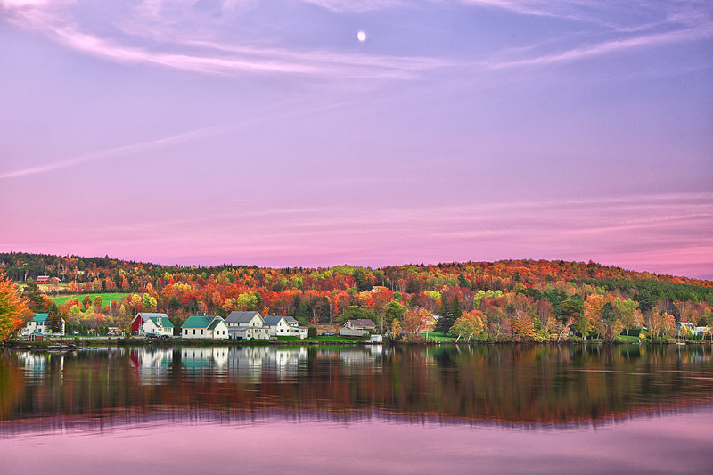 Vermont, Stowe, Lake Elmore, Foliage, Fall Colors, Landscape, Moonlight, HDR, 佛蒙特, 秋色 风景