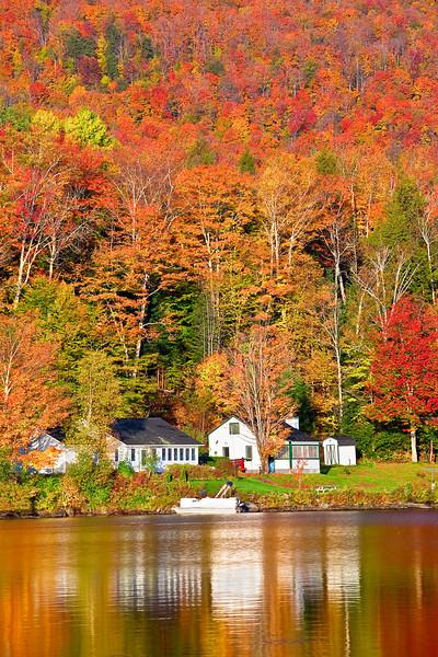 Vermont, Stowe, Lake Elmore, Foliage, Fall Colors, Landscape, 佛蒙特, 秋色 风景