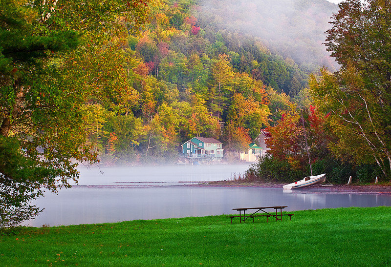 Vermont, Manchester, Lake St Catherine State Park, Foliage, Fall Colors, Landscape, 佛蒙特, 秋色 风景