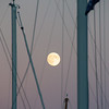 Full moon rising over Lake Champlain