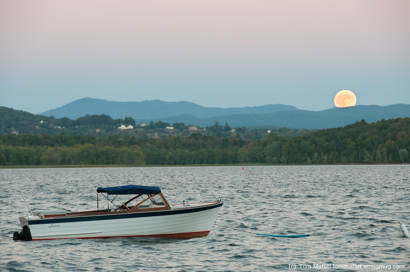 Rising full moon over the Green Mountains