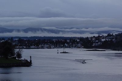 Fog in the Sooke Hills behind Victoria Harbour
