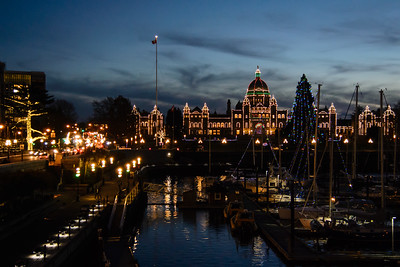 Victoria Harbour and Legislature lit up for Christmas