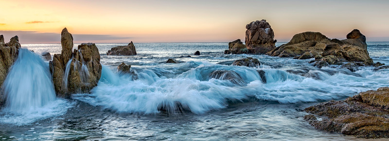 Rocks, Waves and Sunrise.