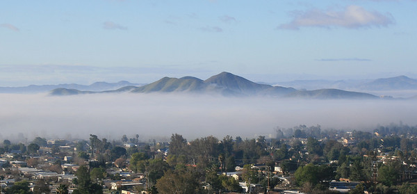 Sun City Hills and tule fog.  14 Feb 2009.