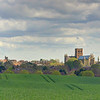 Saint Albans Abbey across the fields.
